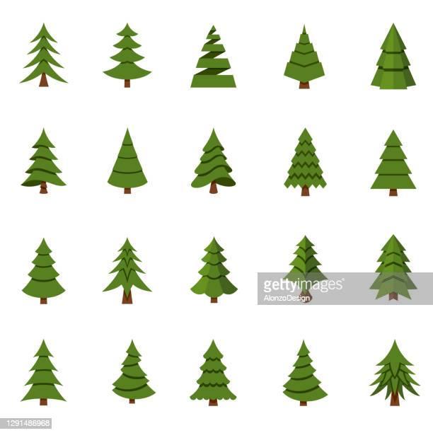 christmas tree set. - romania stock illustrations