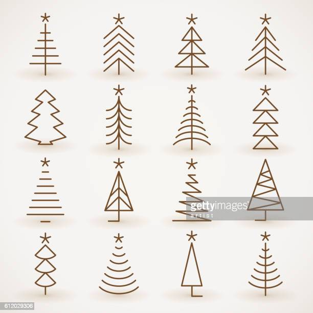 illustrations, cliparts, dessins animés et icônes de arbre de noël ensemble - sapin