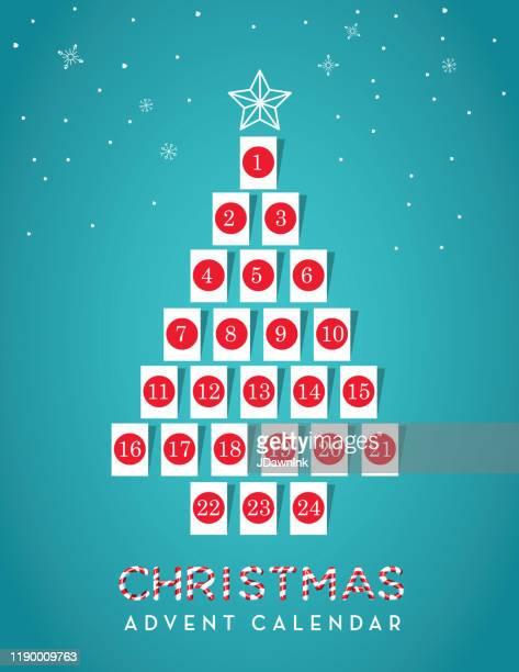 illustrazioni stock, clip art, cartoni animati e icone di tendenza di christmas tree shaped holiday advent calendar date with gift tags - avvento