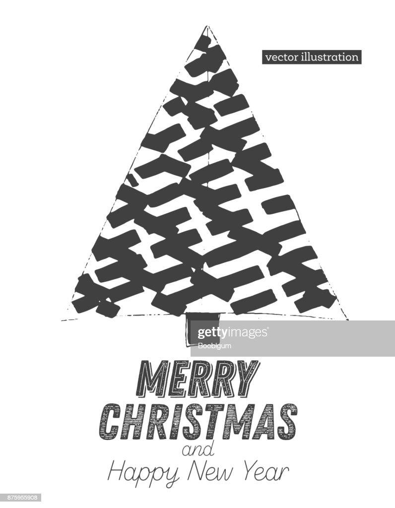 Weihnachtsbaumskizze Isolated On White Background Frohe Weihnachten ...