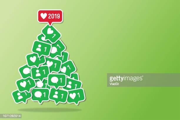 christmas tree social media new year holiday notifications - following stock illustrations