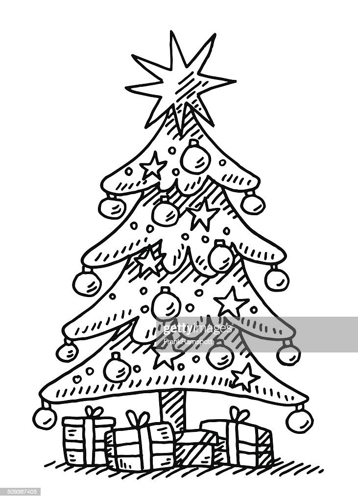 christmas tree star gift boxes drawing vector art