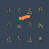 Christmas tree thin line icons for design