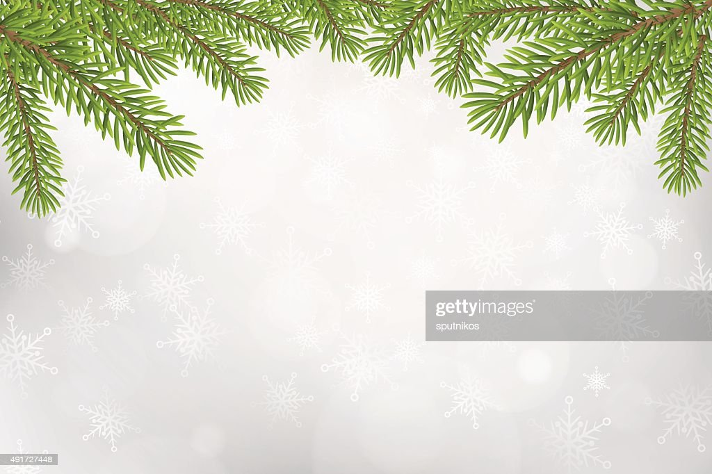 Christmas tree top frame isolated on silver blurred background