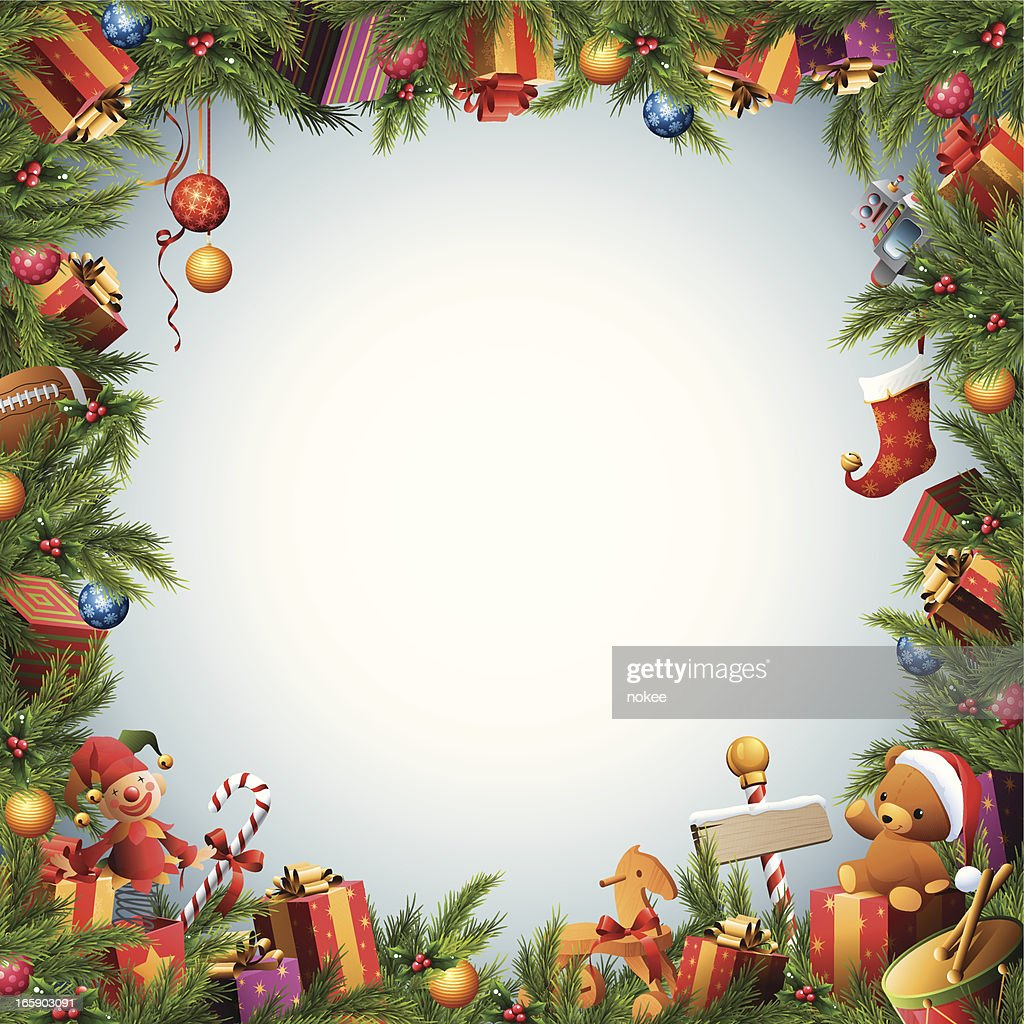 Christmas Toys Border : Christmas tree toys gifts border vector art getty images