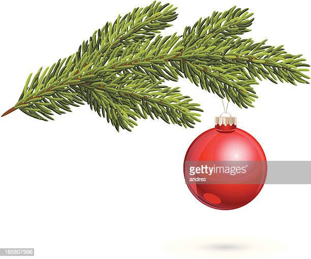 christmas tree twig with red bauble - spruce tree stock illustrations