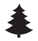 Christmas tree vector silhouette icon flat isolated on white background