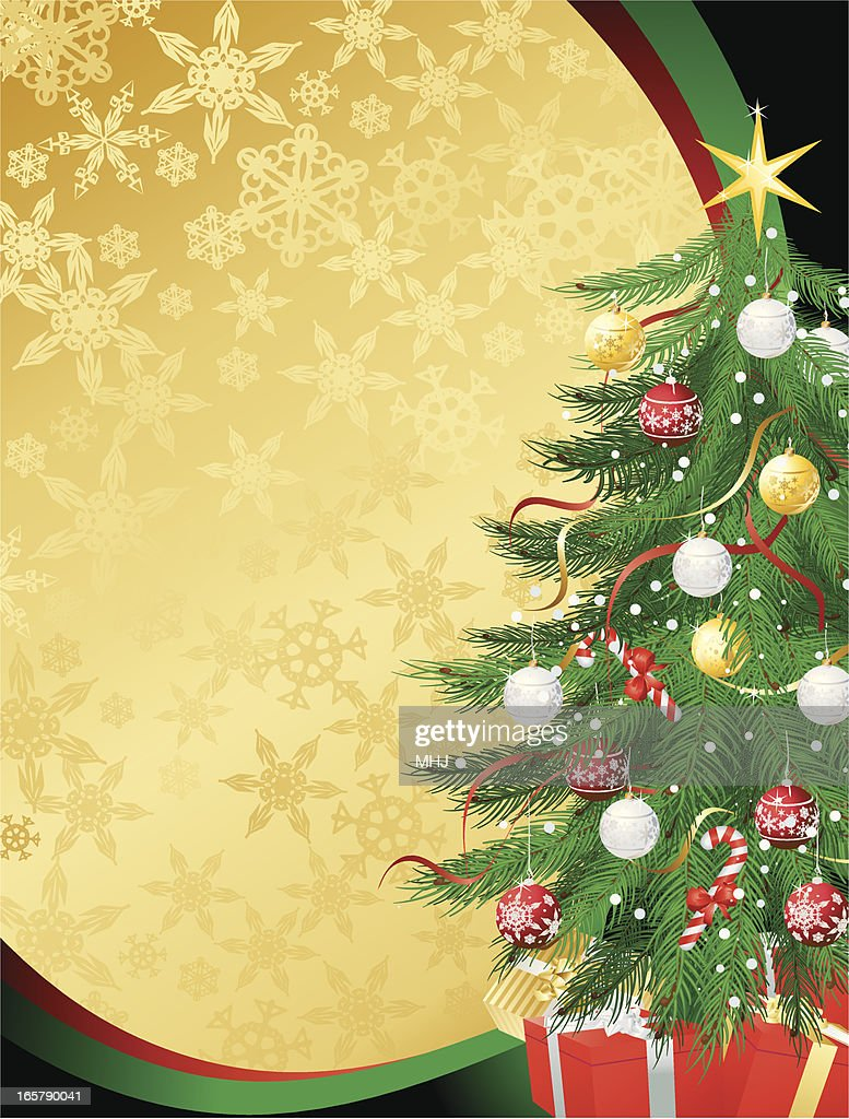 Christmas Tree Vertical Background In Gold And Green Vector Art