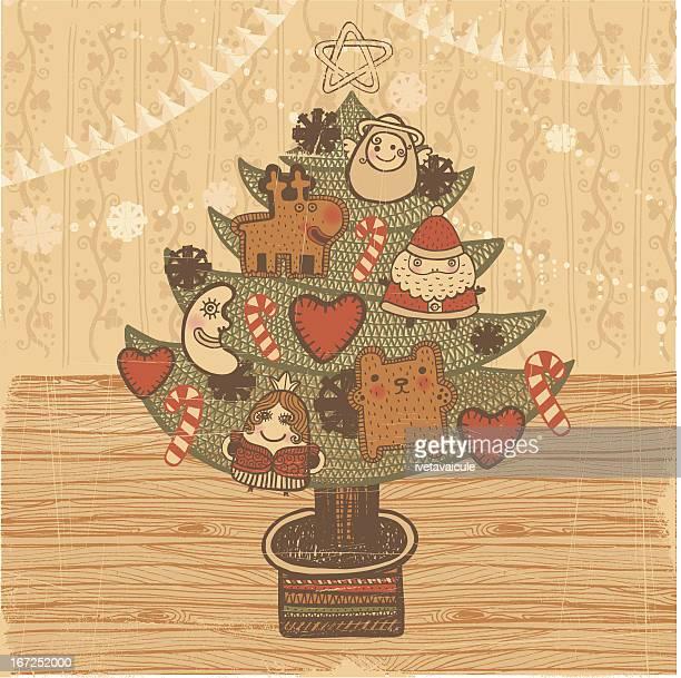 christmas tree vintage style - floorboard stock illustrations, clip art, cartoons, & icons
