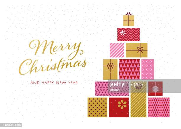 christmas tree with gift boxes. - christmas present stock illustrations