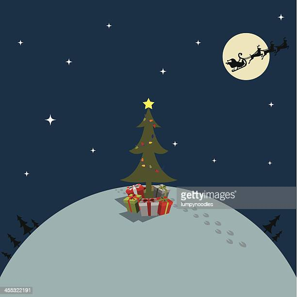 christmas tree with gifts - animal track stock illustrations, clip art, cartoons, & icons