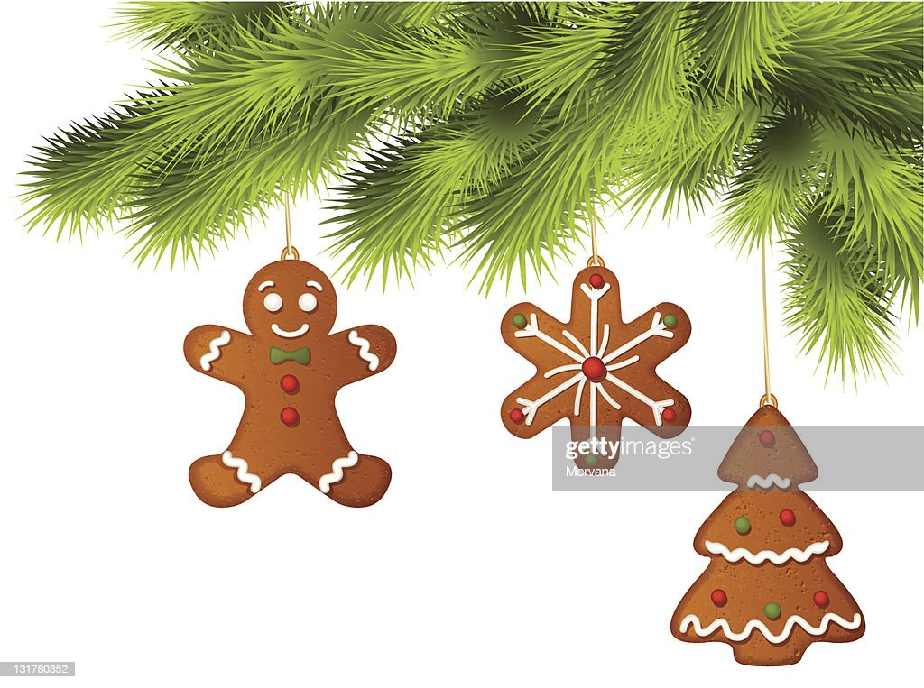 Christmas tree with gingerbread ornaments on branches