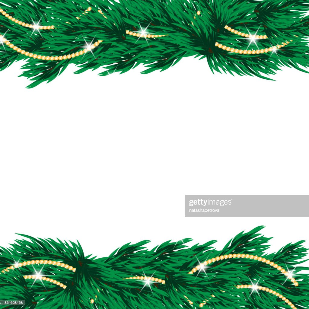 Christmas tree with golden decorations isolated on white background
