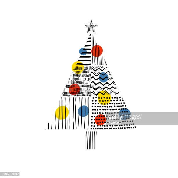 christmas tree with hand drawn pattern - craft product stock illustrations
