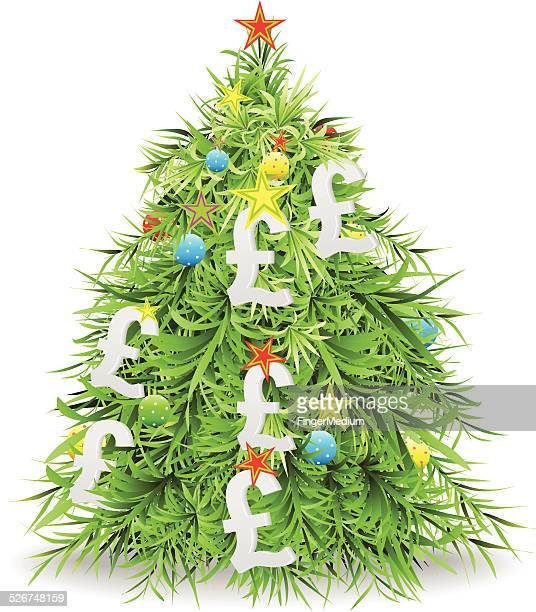 christmas tree with pound - christmas cash stock illustrations