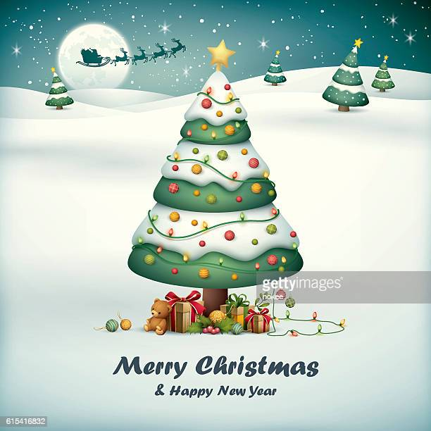 Christmas tree with santa sleigh on snow field background