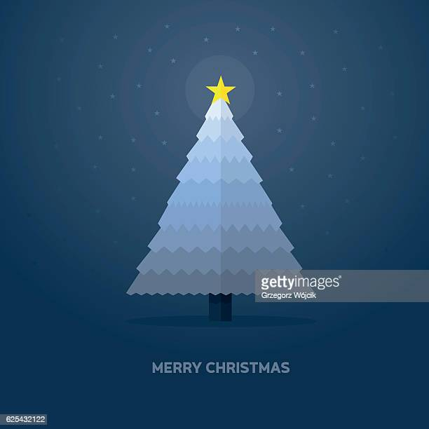 christmas tree with star - flat vector Illustration