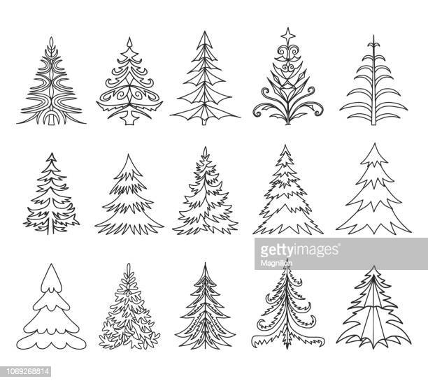 Christmas Trees Doodle Set
