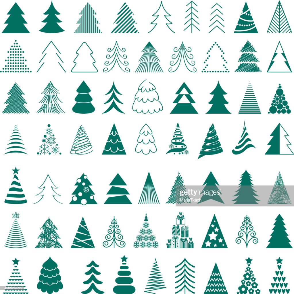Christmas trees icons big set vector illustration