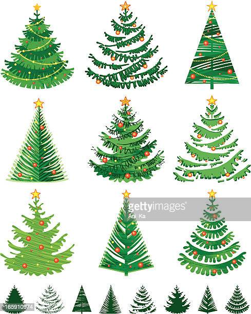 illustrations, cliparts, dessins animés et icônes de arbres de noël - sapin