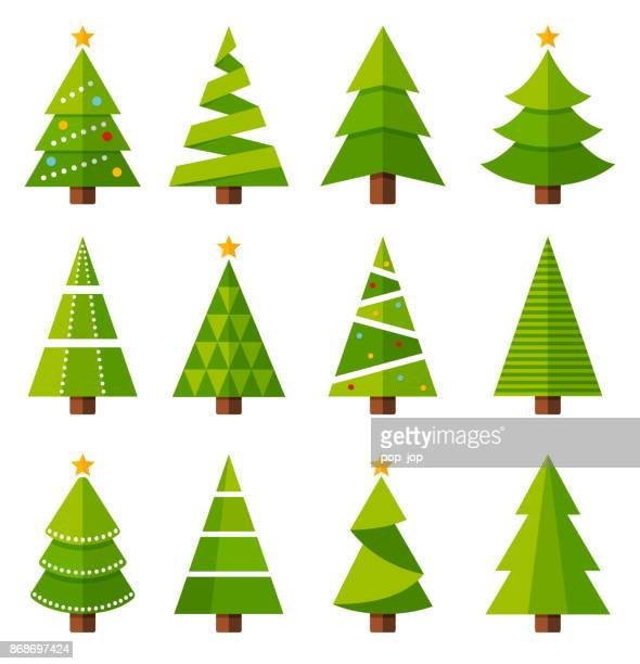 christmas trees - coniferous tree stock illustrations, clip art, cartoons, & icons