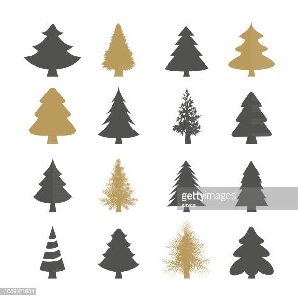 christmas trees vector set - tree stock illustrations, clip art, cartoons, & icons