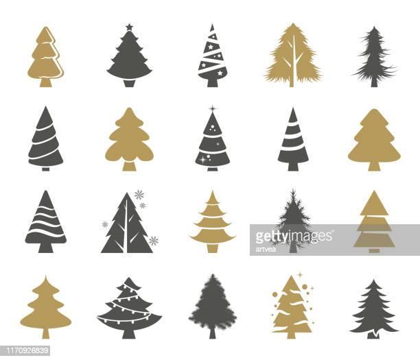 illustrazioni stock, clip art, cartoni animati e icone di tendenza di set vettoriale alberi di natale - collezione