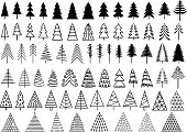 Christmas trees, vector set