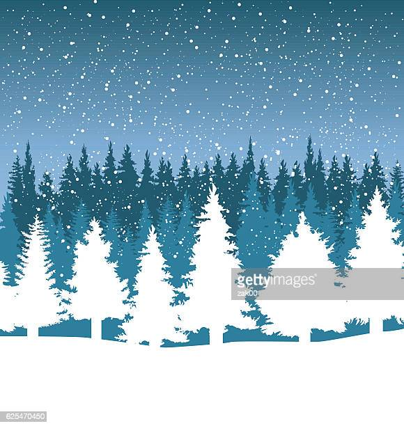 クリスマスツリーと降り注ぐ雪