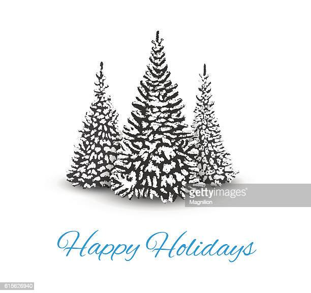 christmas trees with text happy holidays - happy holidays stock illustrations, clip art, cartoons, & icons