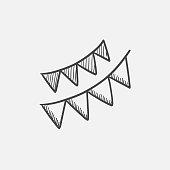 Christmas triangular flags sketch icon
