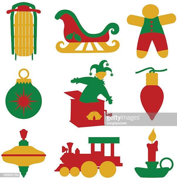 illustrations, cliparts, dessins animés et icônes de ensemble d'icônes de noël tricolor - diable à ressort