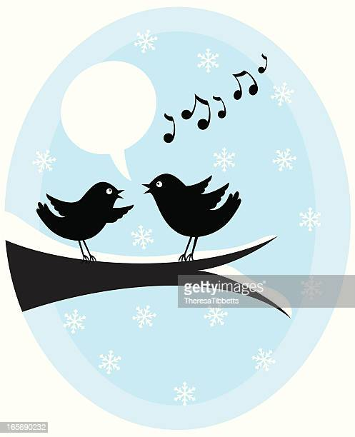 ilustrações de stock, clip art, desenhos animados e ícones de a twittar de natal de aves - canto de passarinho