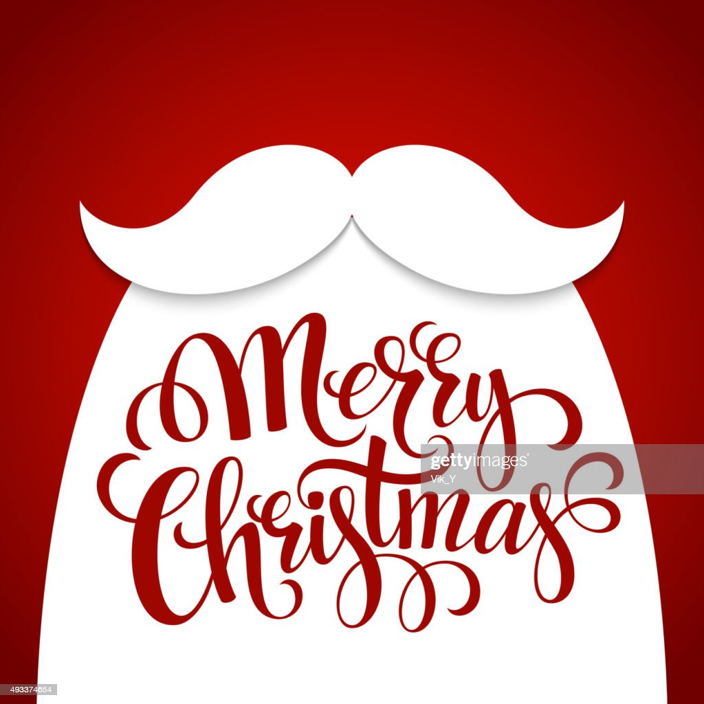 Christmas Typographic Background. Santa  Beard. Vector illustration