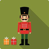 Christmas vector card with a nutcracker