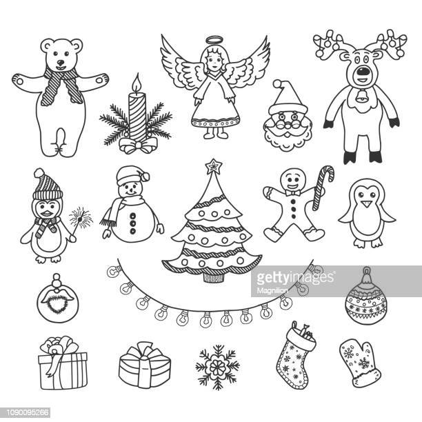 christmas vector doodles set - gingerbread man stock illustrations
