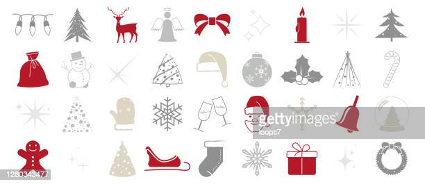 christmas vector editable and scalable at any size - collection of 36 icons - gray hat stock illustrations