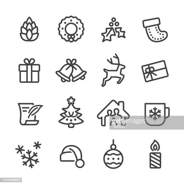 christmas vector icons - line series - reindeer stock illustrations