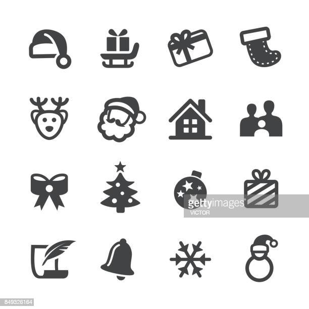 christmas vector icons - hat stock illustrations