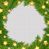 Christmas vector tree and gold stars decorative frame with transparent background. Realistic pine branches illustration