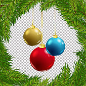 Christmas vector tree decorative frame with balls on transparent background. Realistic pine branches illustration