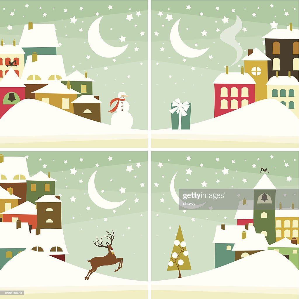 Christmas village fondos : arte vectorial