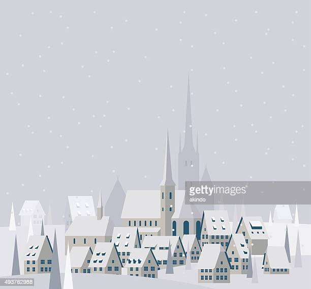 christmas village landscape - illustration - town stock illustrations