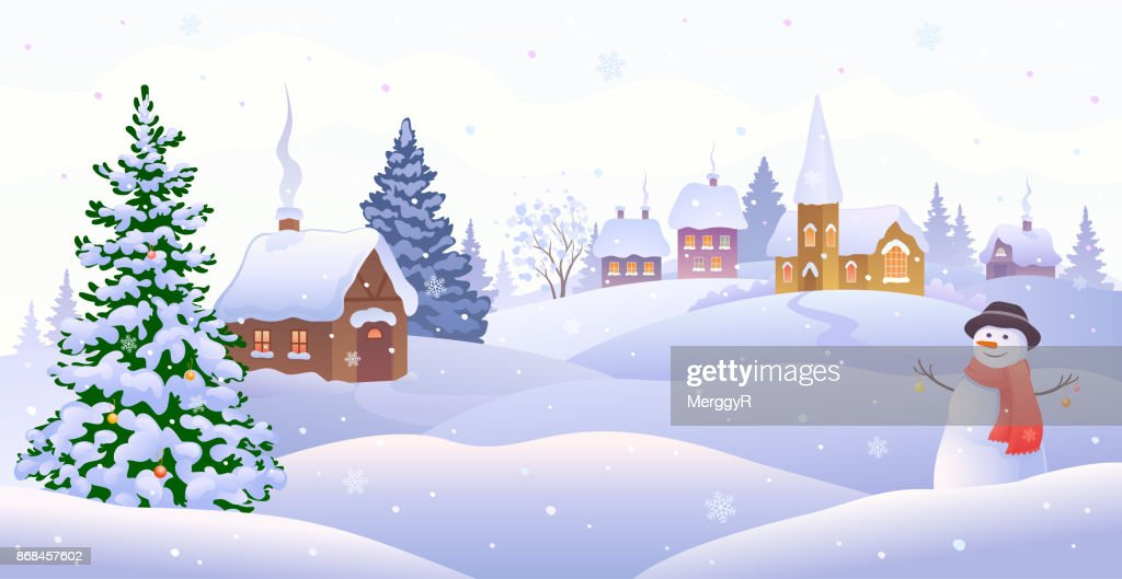 Christmas village with snowman