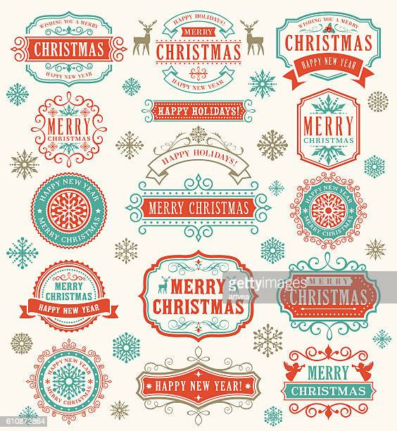 christmas vintage badges - collection stock illustrations, clip art, cartoons, & icons