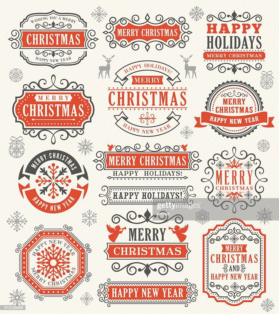Natal Vintage medalhas : Ilustração
