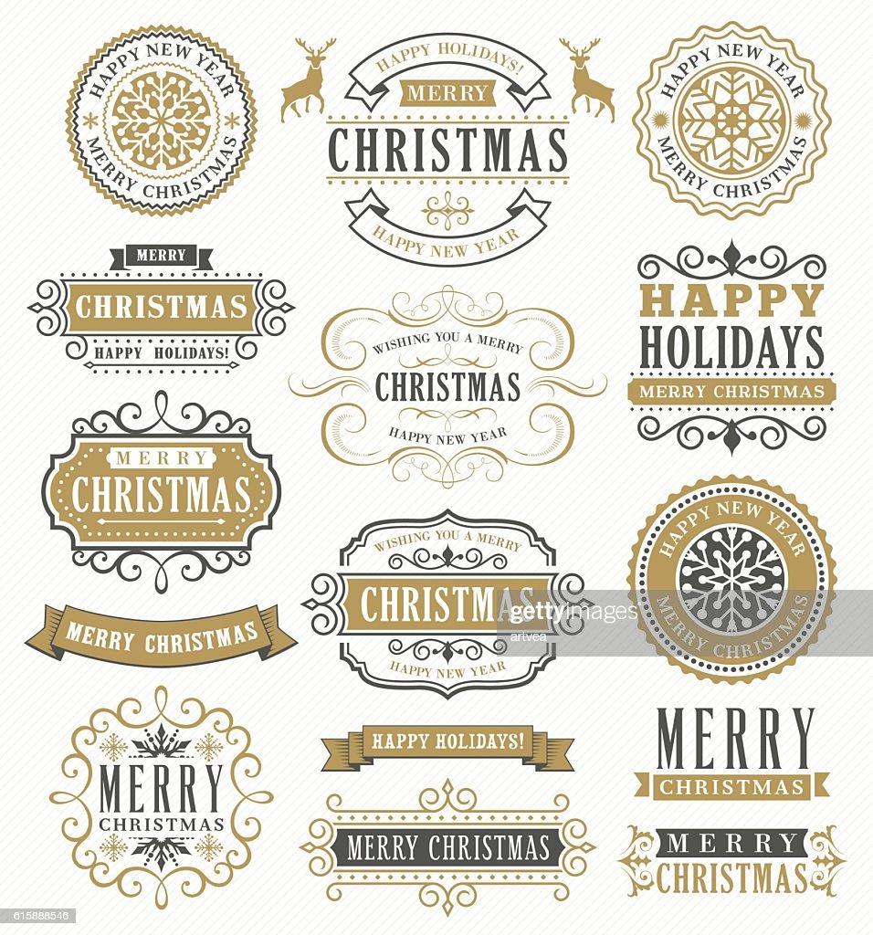 Christmas Vintage Badges : stock illustration