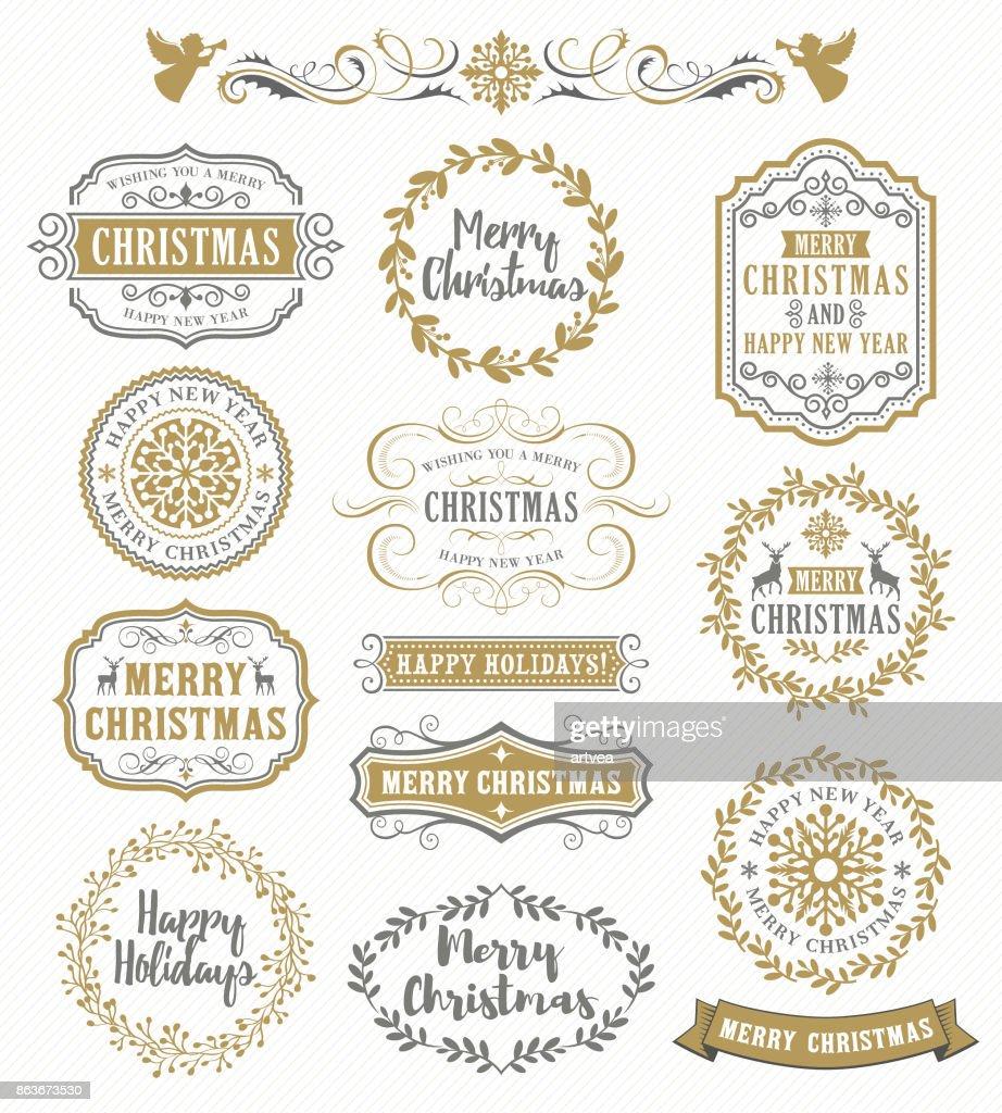 Christmas Vintage Badges
