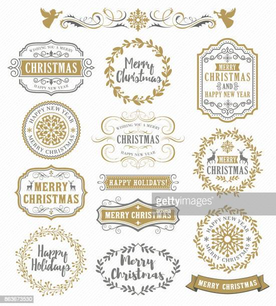 christmas vintage badges - ornate stock illustrations, clip art, cartoons, & icons