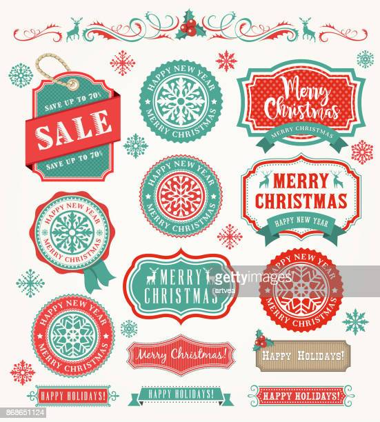 christmas vintage badges - banner sign stock illustrations